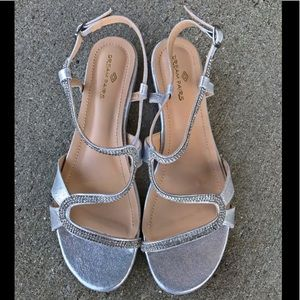 Dream Pairs Silver Wedding Low Wedge Sandal Shoes